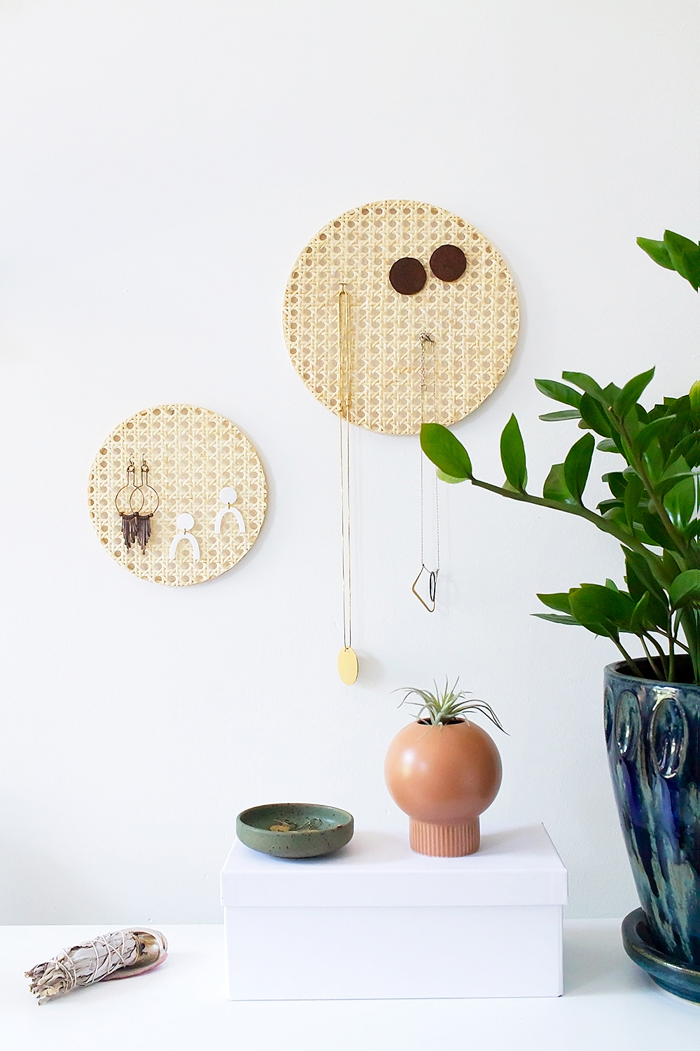 DIY rattan necklace and earring organizer