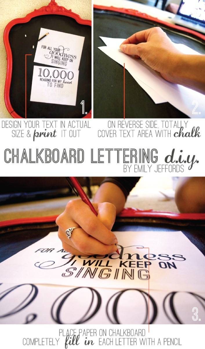 Chalkboard lettering transfer technique