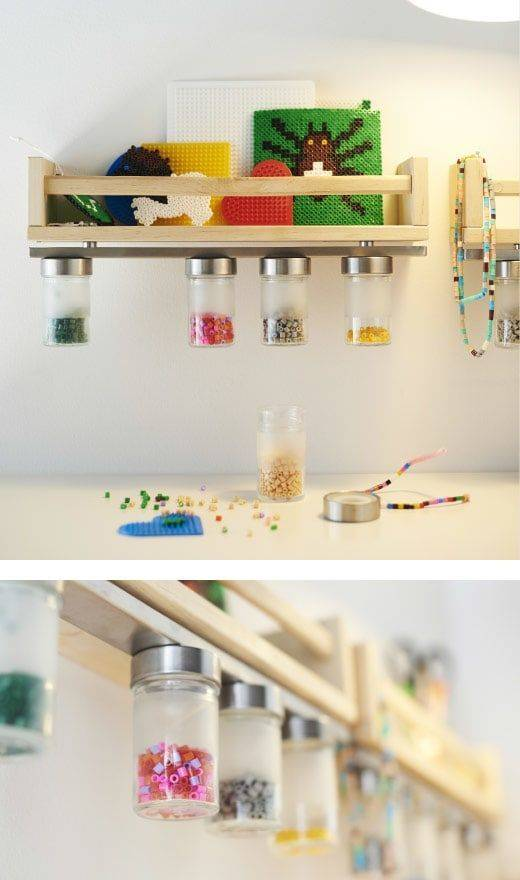 Store beads in jars attached to a magnetic knife strip