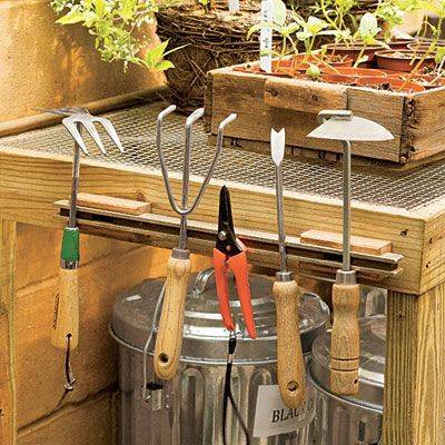 Organize garden tools with a magnetic knife rack