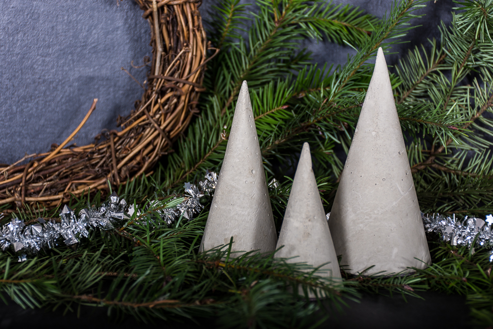 DIY cement Christmas trees
