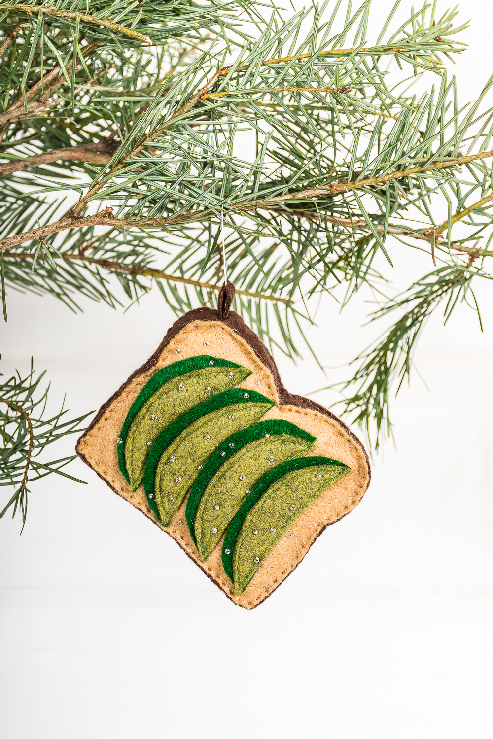 DIY avocado toast Christmas ornament
