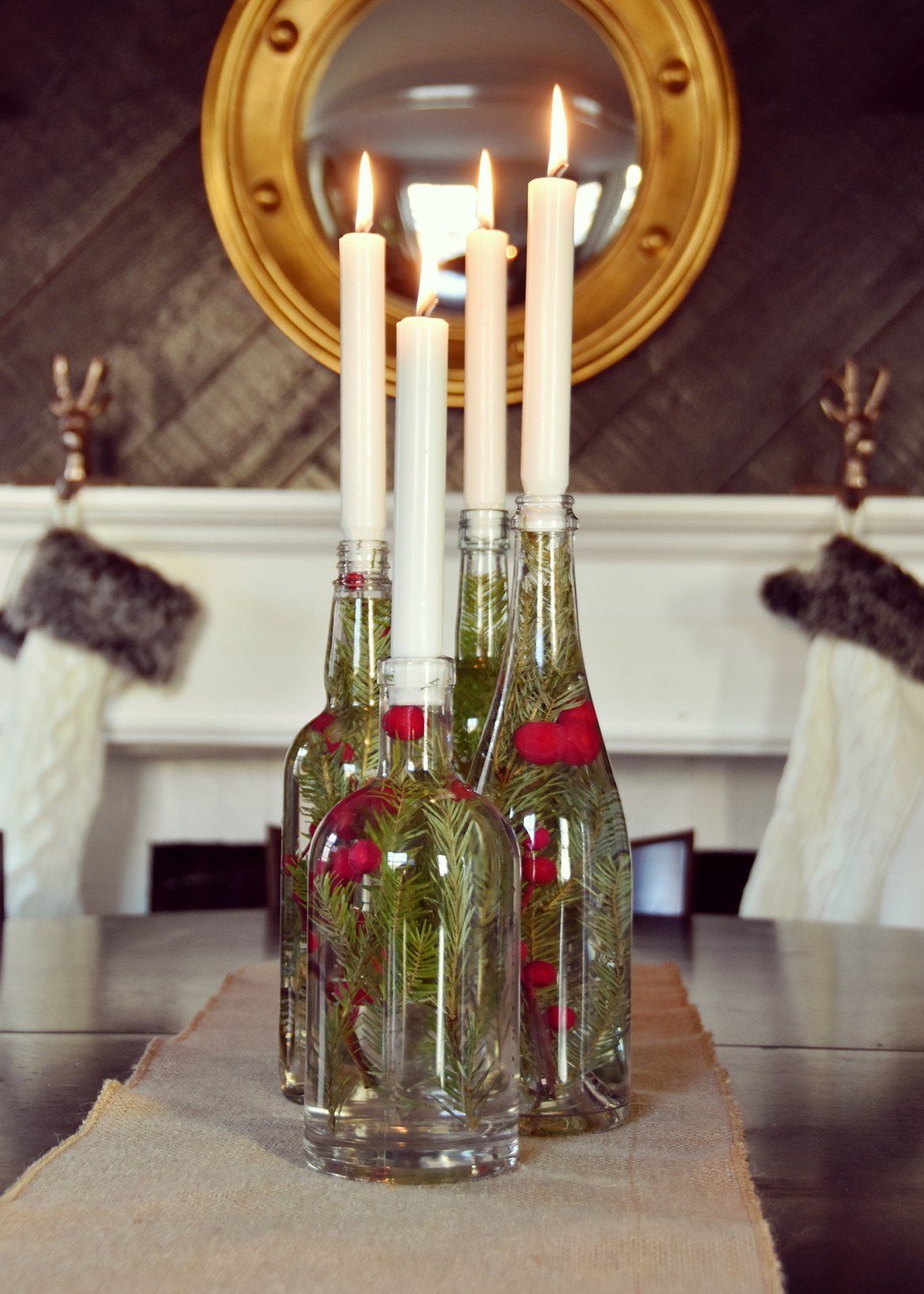 Upcycled Glass Bottle Holiday Centerpiece | Curbly #holiday #upcycled #centerpiece