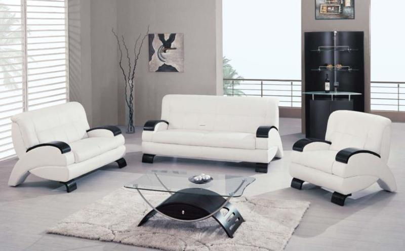 White/Cappuccino/Black Leather Upholstered Living Room Set