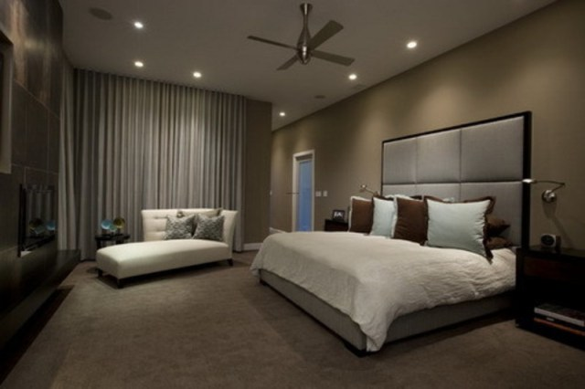 Dark Brown Wall Color Themes And Modern Carpets In ...