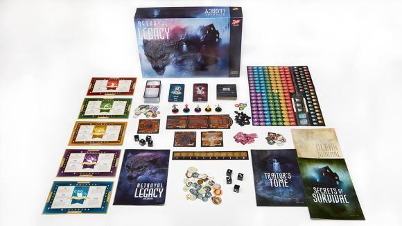 Composants et boîte de jeu de société Betrayal Legacy