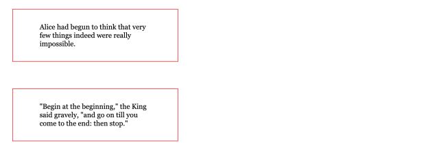 Two boxes of black serif text with thin red borders with more space between each box.