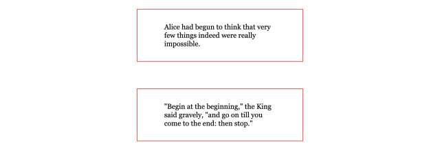 Two boxes of black serif text with thin red borders with space between each box centered to the page horizontally.