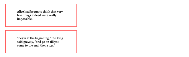 Two boxes of black serif text with thin red borders with space between each box.