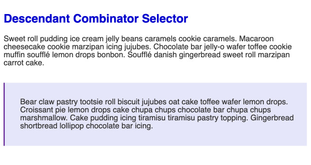 Large bold blue headline followed by a smaller paragraph of black text. Below the paragraph is a light purple box with a darker purple border on the left side. Inside the box is another paragraph of black text.