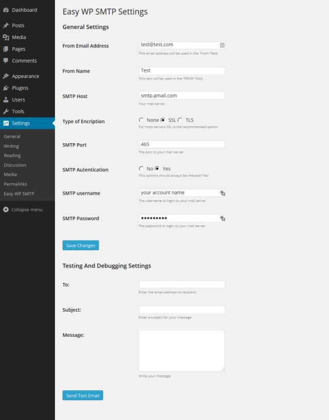 Wordpress WP SMTP