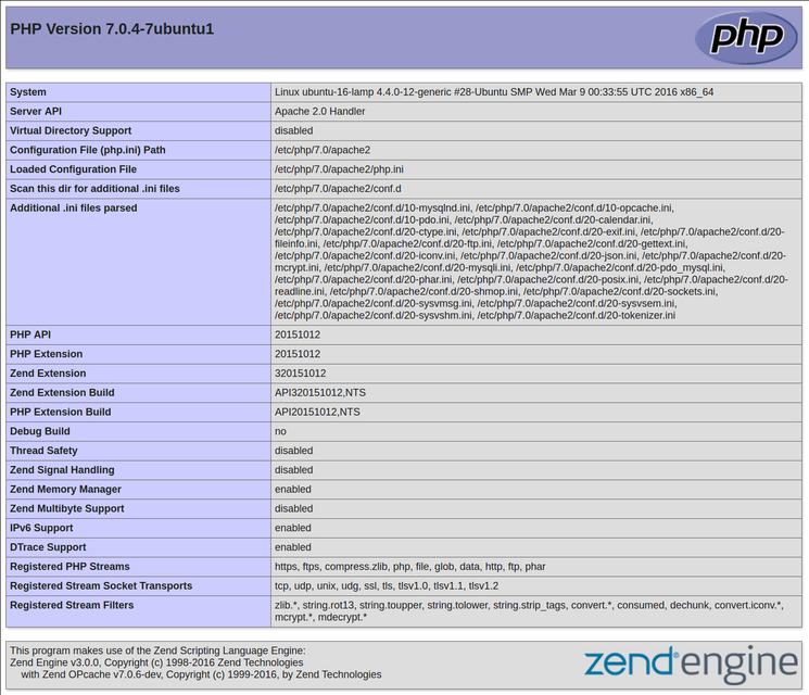 Ubuntu 16.04 default PHP info