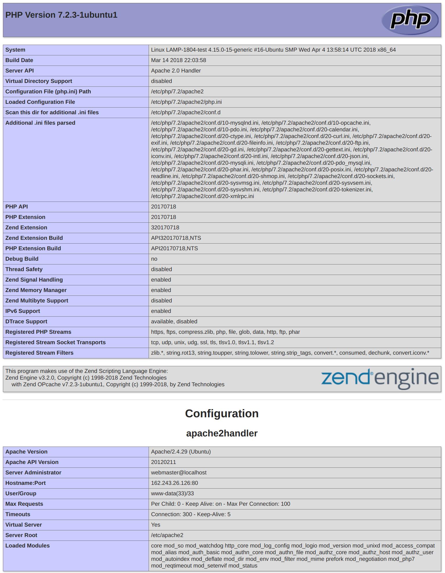 Ubuntu 18.04 default PHP info