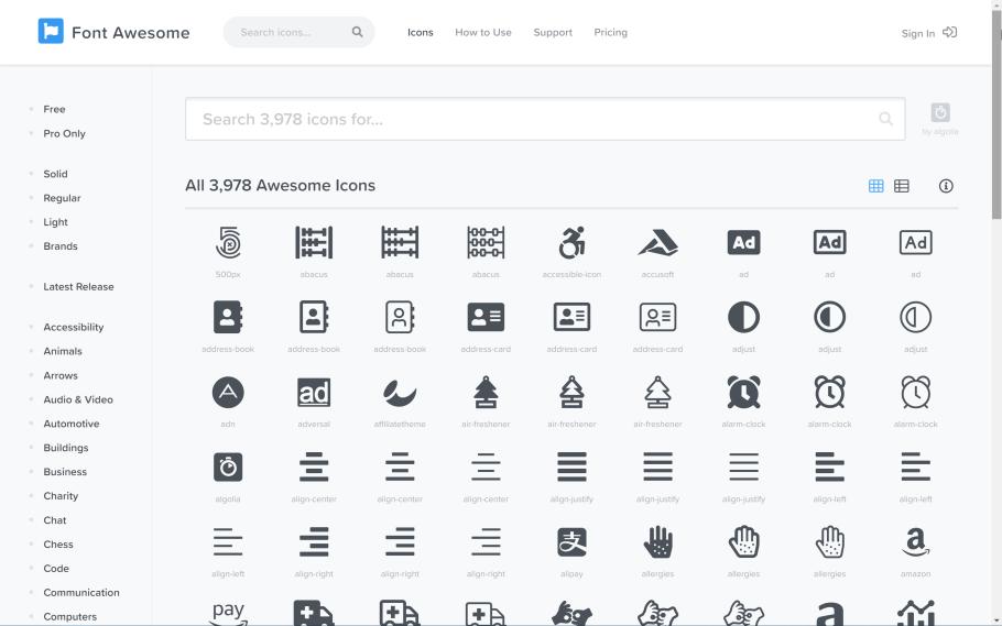 Sitio web Font Awesome con sus iconos