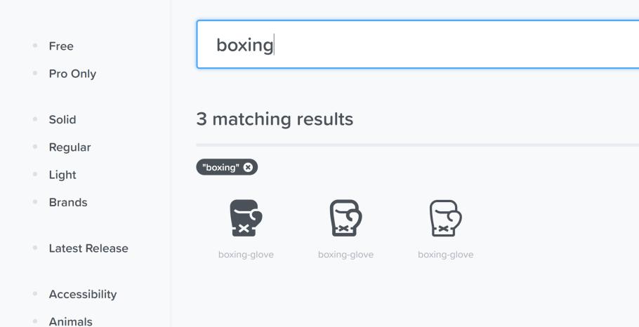 tres versiones diferentes del icono de guante de boxeo