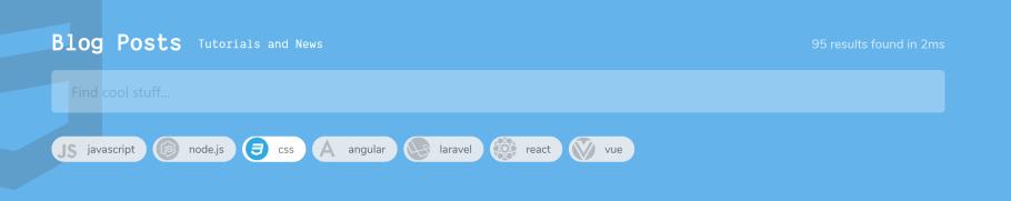 El filtro Etiqueta de nuevo, pero ahora con un fondo azul