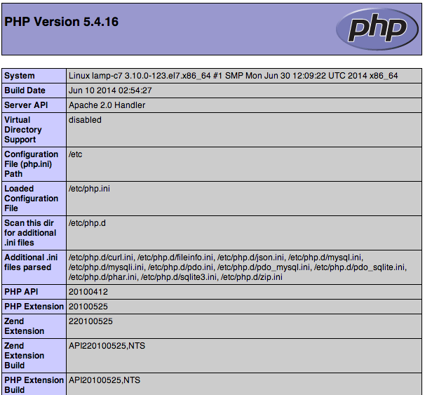 CentOS 7 default PHP info