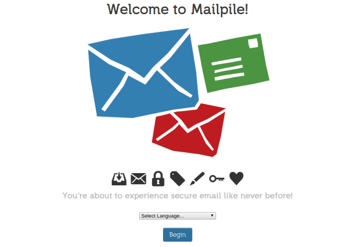 Mailpile's Initial Launch Screen