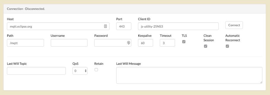 Paho Client Screen