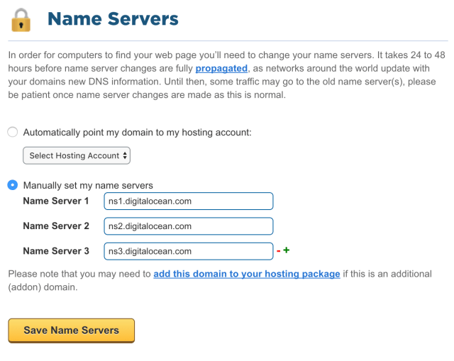 How To Point to DigitalOcean Nameservers From Common Domain