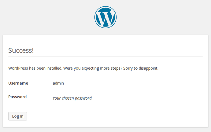 WordPress confirm install