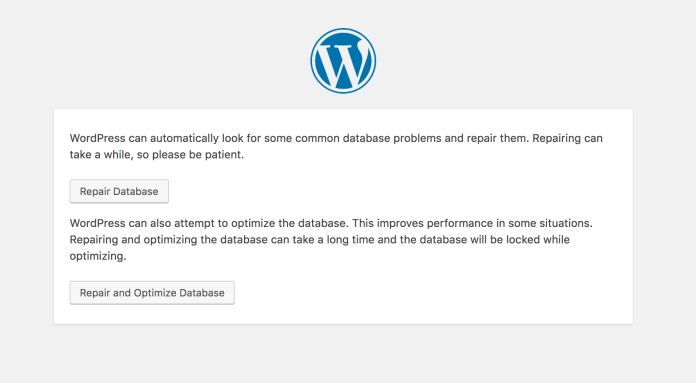 WordPress database repair page