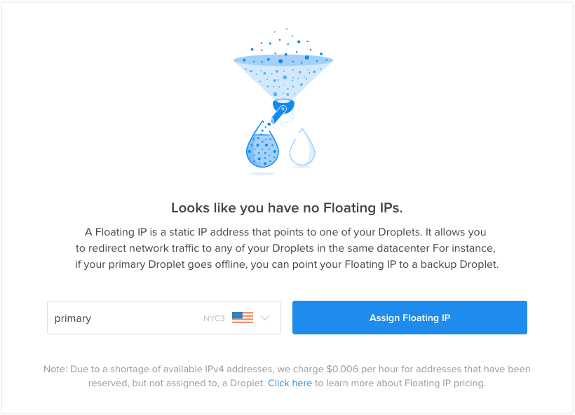 No Floating IPs digitalocean