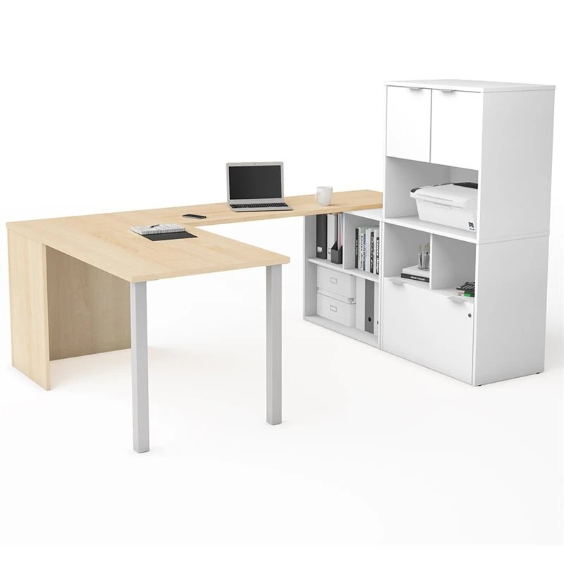 Bestar I3 Plus U Shape Computer Desk With Hutch In Maple