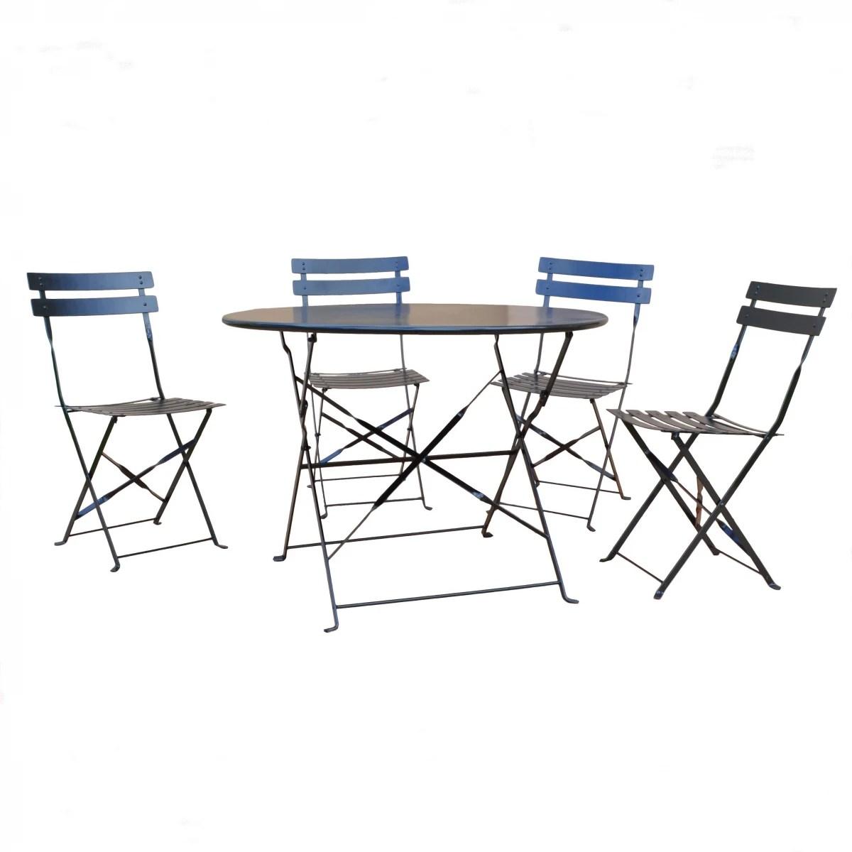 Carolina Chair Amp Table Malibu Onyx Black 5 Piece Bistro Set