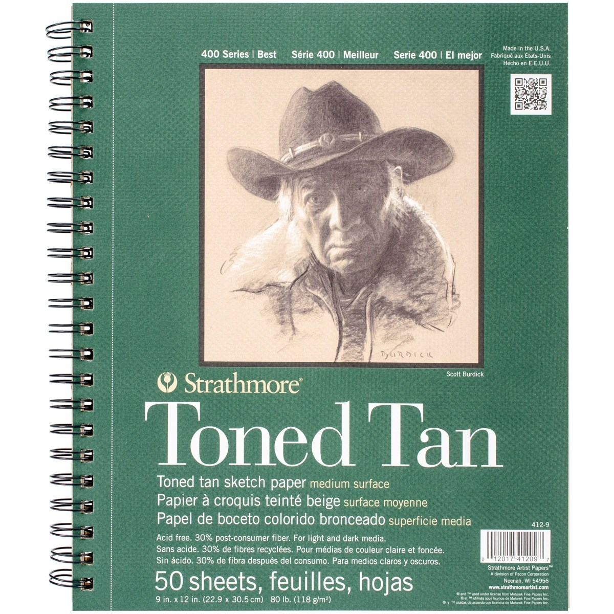 Strathmore Toned Sketch Spiral Paper Pad 9 X12 Tan 50 Sheets