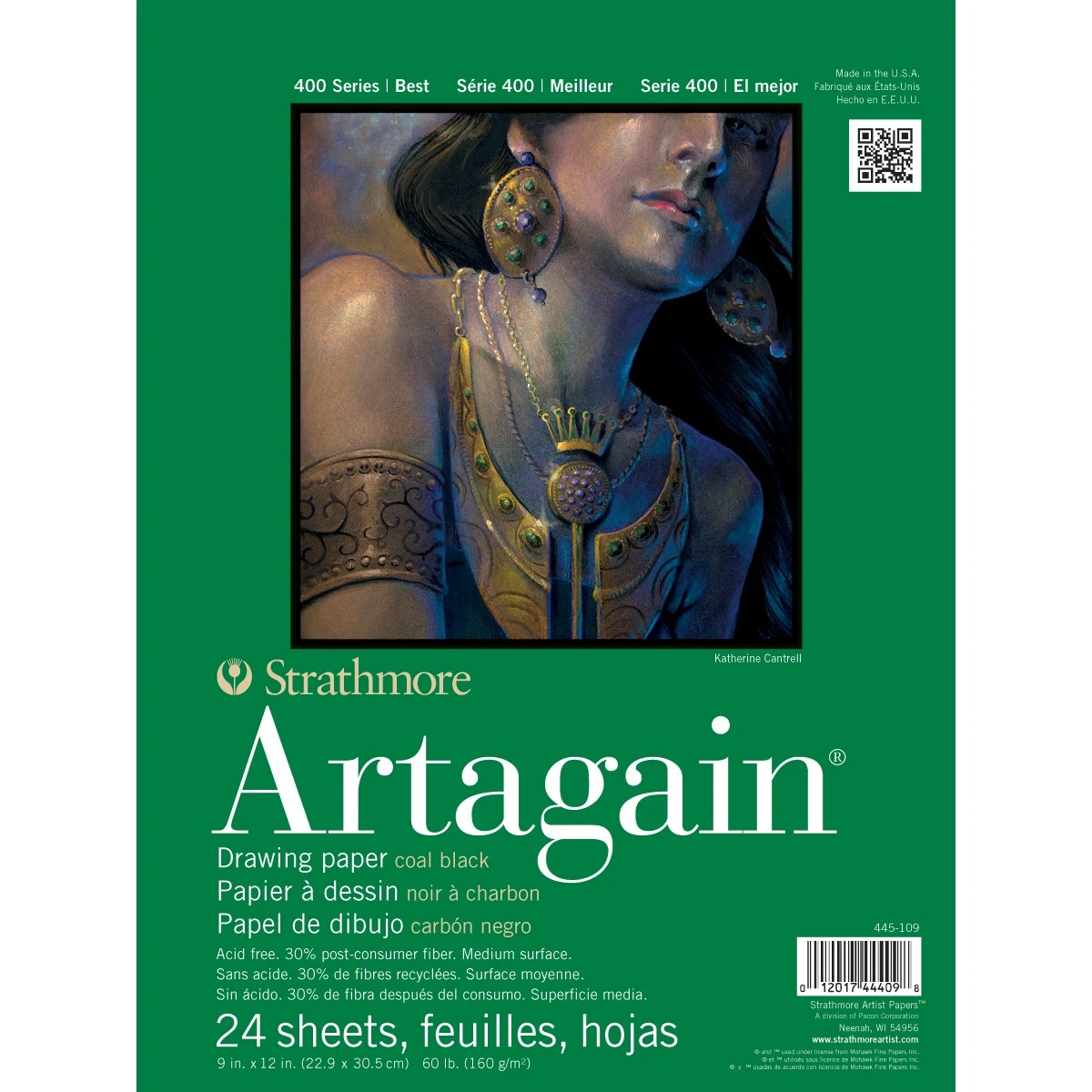 Strathmore Black Artagain Paper Pad 9 X12 24 Sheets Contains Pack
