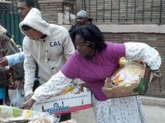 Ama Adomako getting food after Sandy