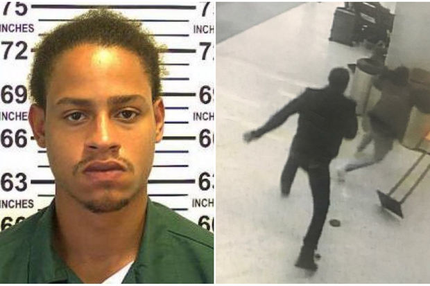 Nathaneal Santana, left, was arrested for assault and fleeing police after attacking a man at JFK Airport, right, officials said.