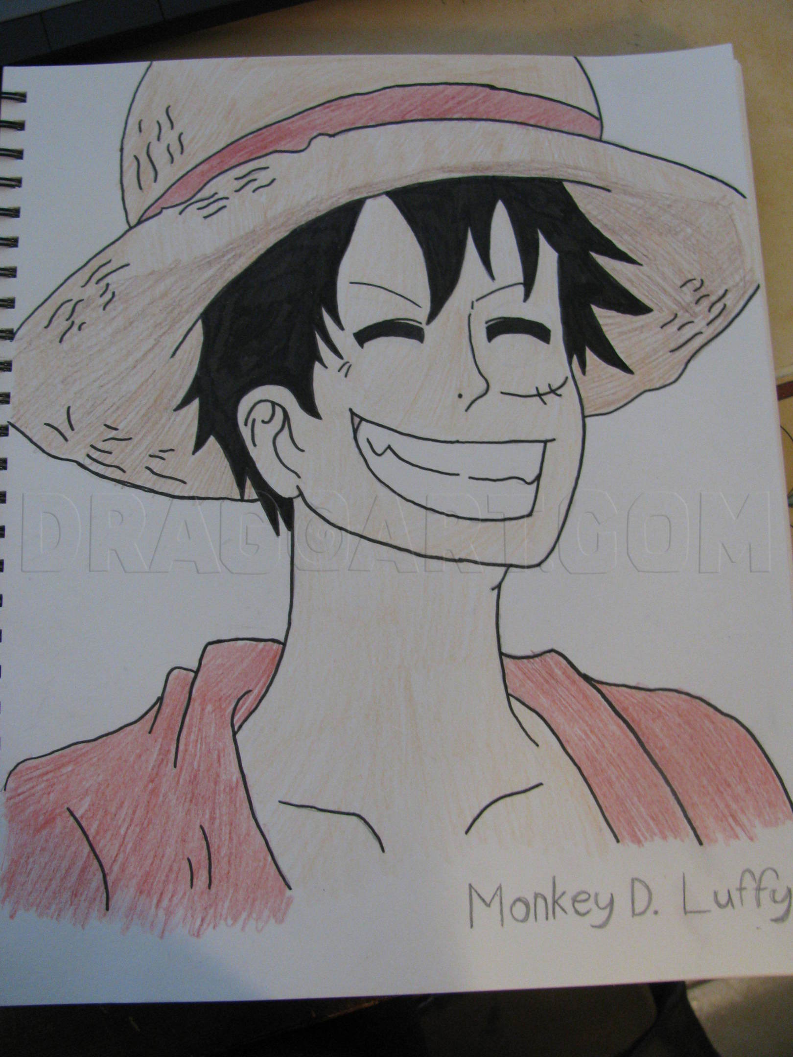 In all honesty if you want to draw a circle or close to it easier freehand put your arm down bend in a rocking motion at the wrist and lightly draw a. Draw Luffy D Monkey Step By Step Drawing Guide By Spidergirl13 Dragoart Com
