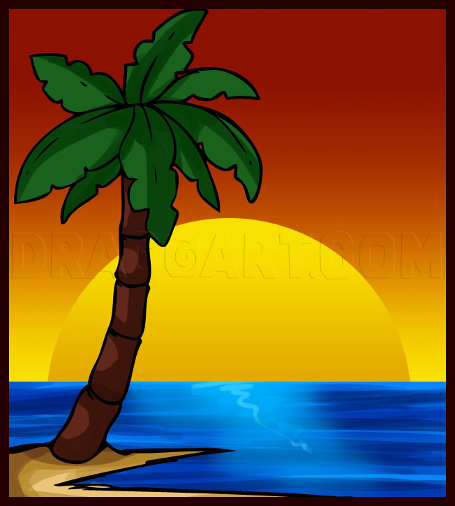 How To Draw A Palm Tree Step By Step Drawing Guide By Dawn Dragoart Com