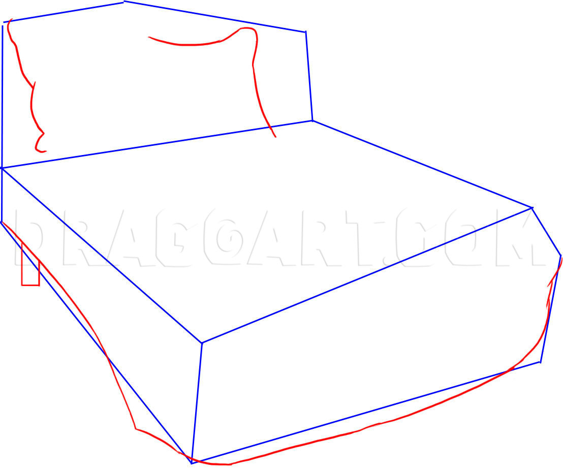 to draw a bed step by step drawing