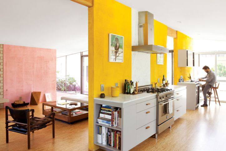 Color Theory in Kitchens Yellow Walls Hardwood Floors Living Room Wall Art Kitchen Design