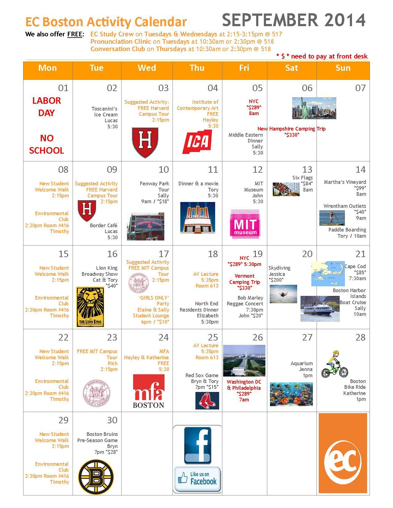 September Activities At Ec Boston