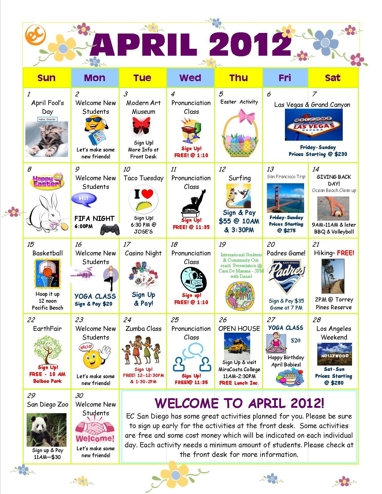 April Activity Calendar Is Here