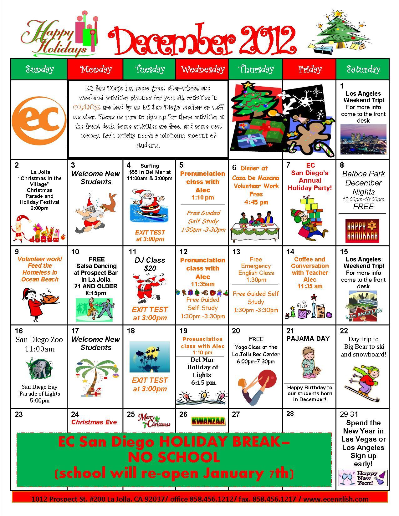 December Activity Calendar Is Here