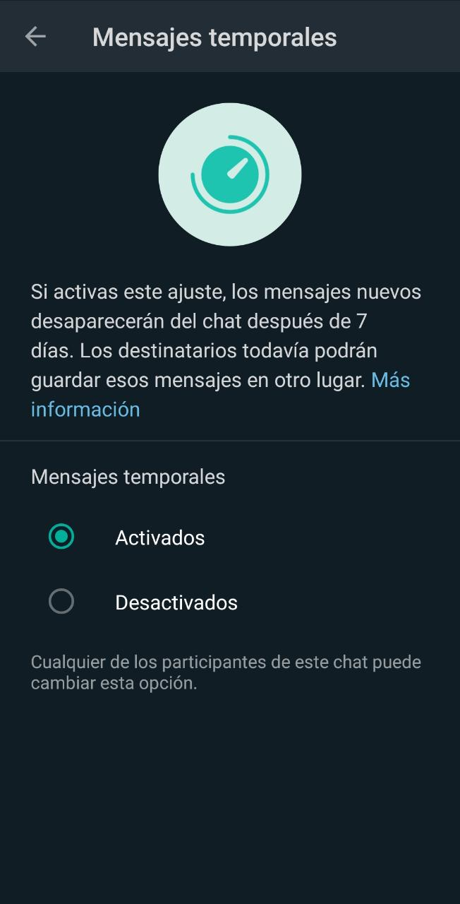 1619805854 Mensajes Temporales 2 How To Activate Or Deactivate Temporary Messages In Whatsapp?