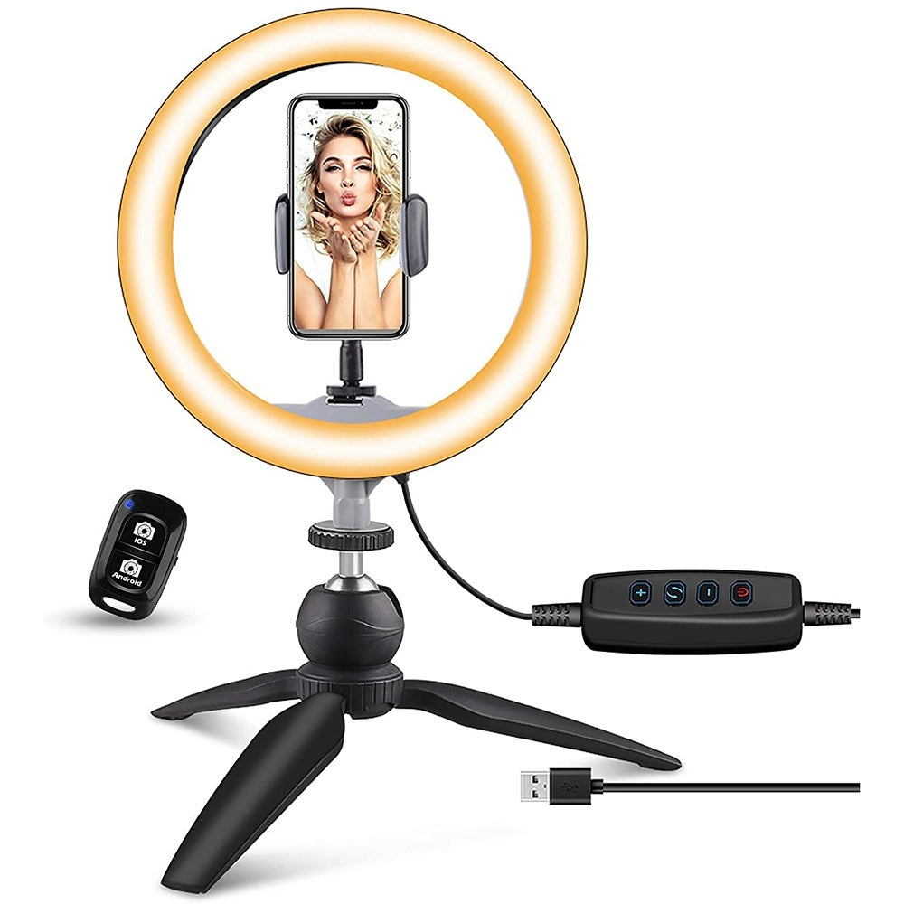 Best Phone Holder: Ubeesize Ring Light with Tripod Stand and Phone Holder ($20)