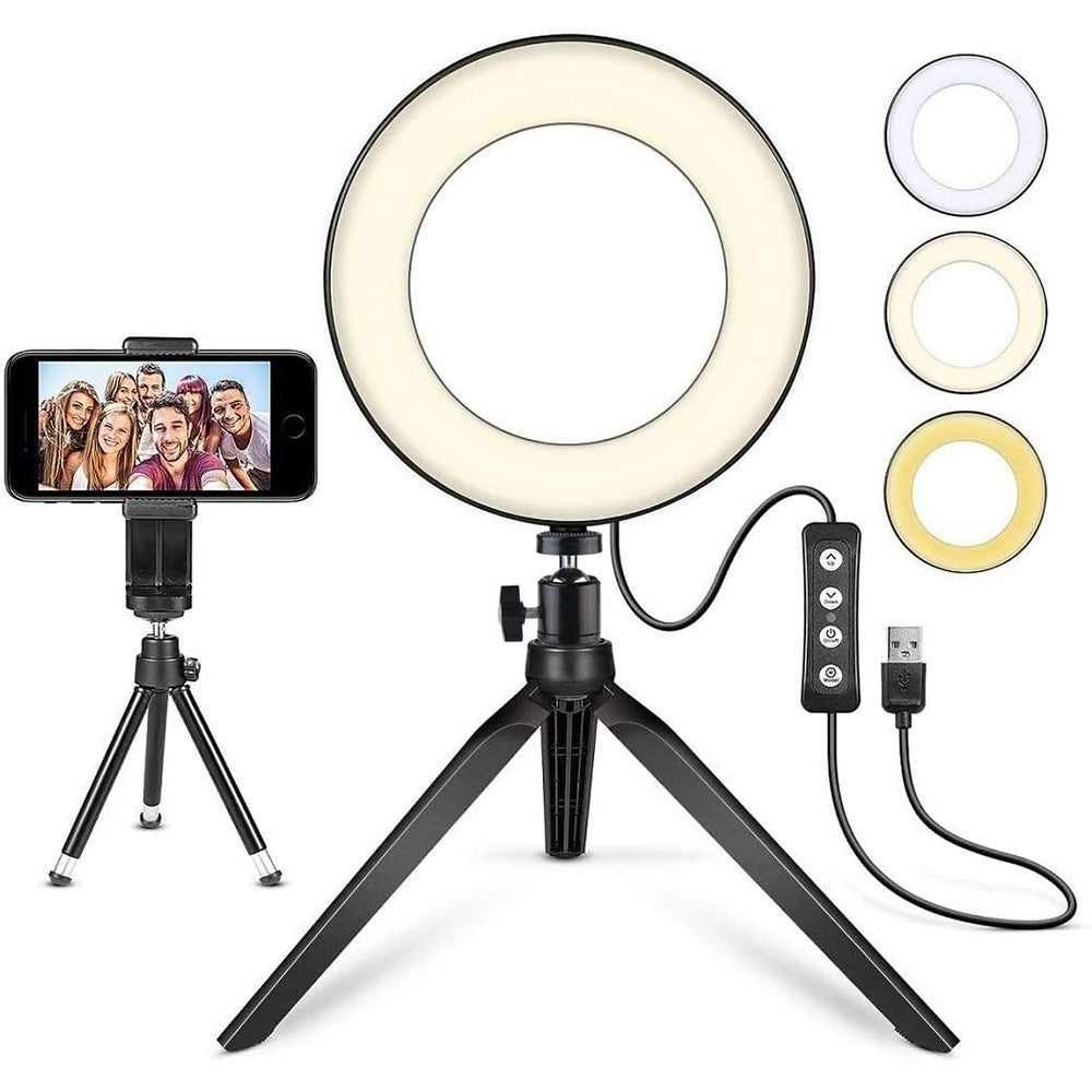 Best Tripod Stand: Mactrem R6 Ring Light with Tripod Stand ($19)