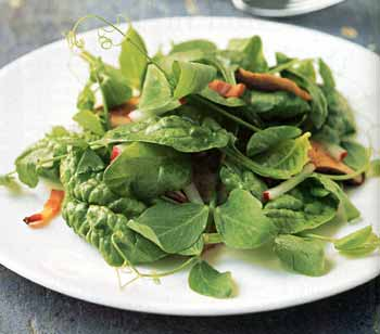 Pea Shoot and Spinach Salad with Bacon and Shiitakes / Romulo Yanes