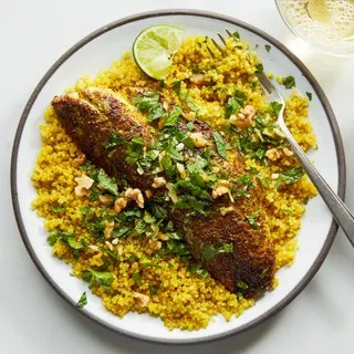 Photo of Sumac Baked Fish with Saffron Quinoa a Persian recipe.