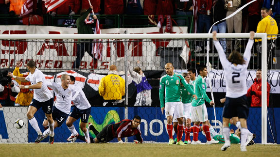 The US celebrates a goal against Mexico.