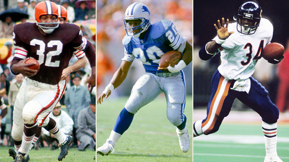 Jim Brown, Barry Sanders, and Walter Payton