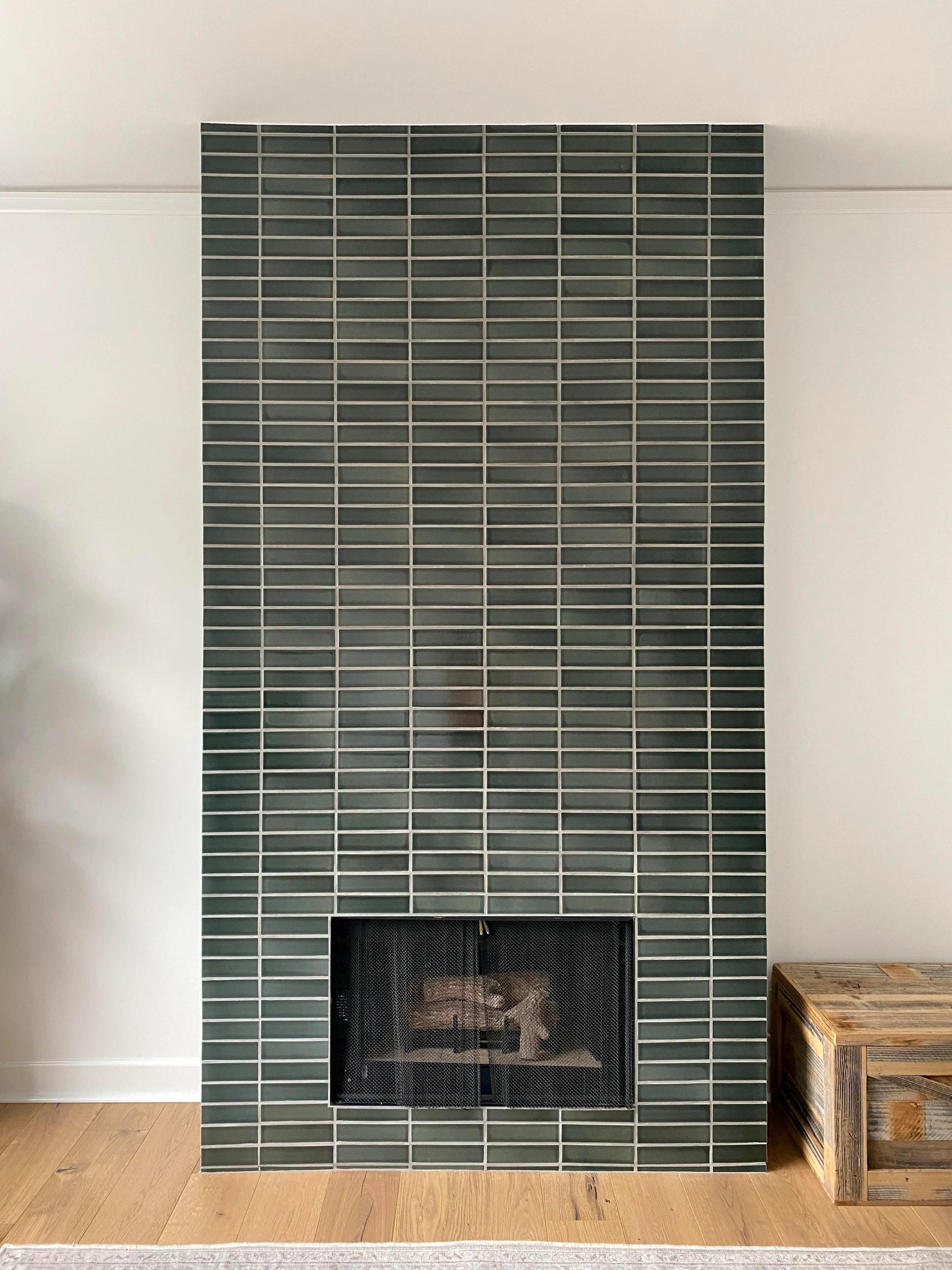 fireplace tiles in dark green