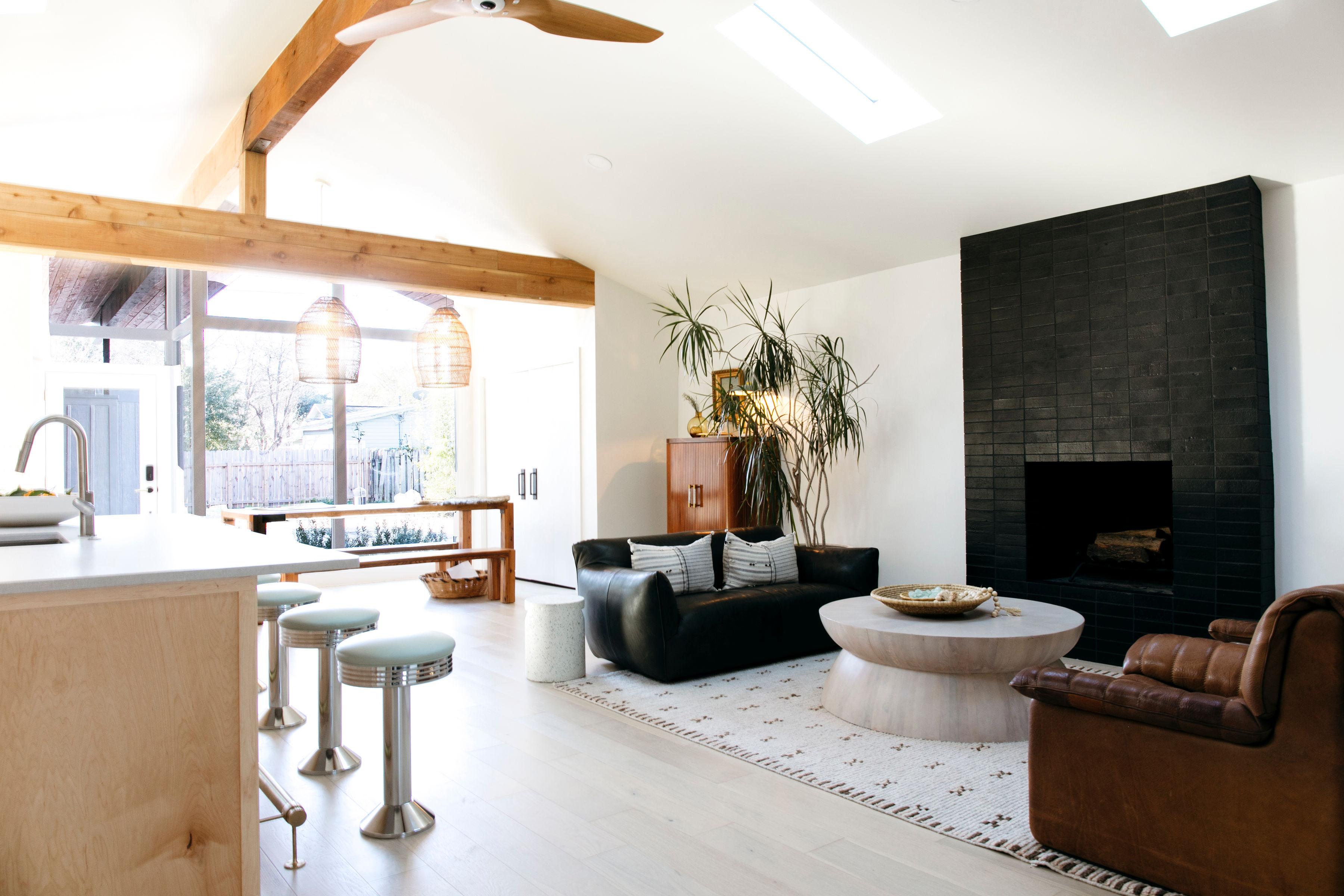 black brick fireplace for mid century
