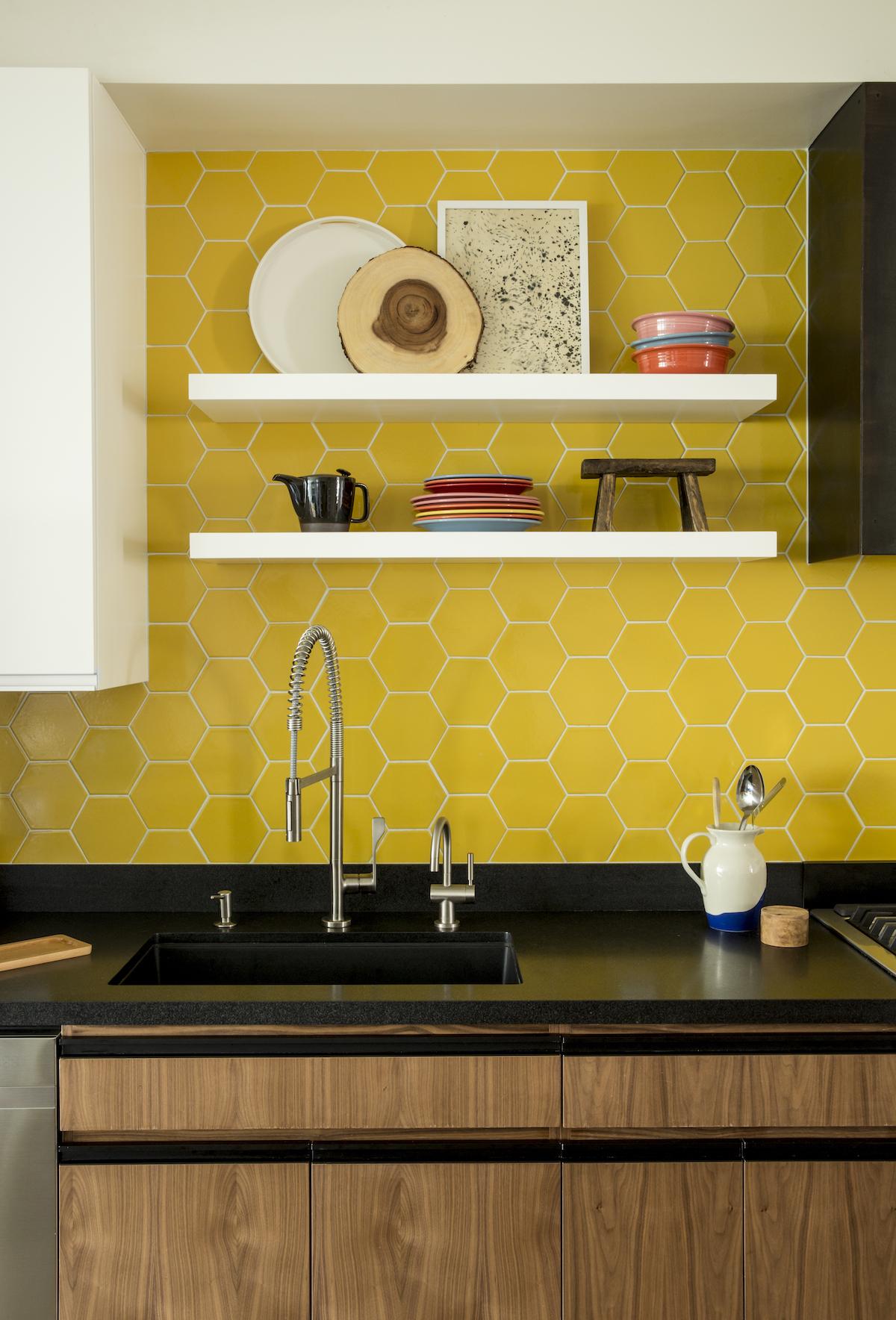 bright honeycomb tile kitchen
